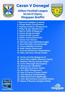 Senior Panel announced to play Donegal