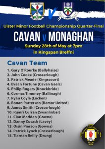 Minor Team to play Monaghan